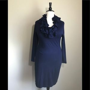 Dresses & Skirts - Blue Elegant Long Sleeve Dress w/ Ruffle Scarf